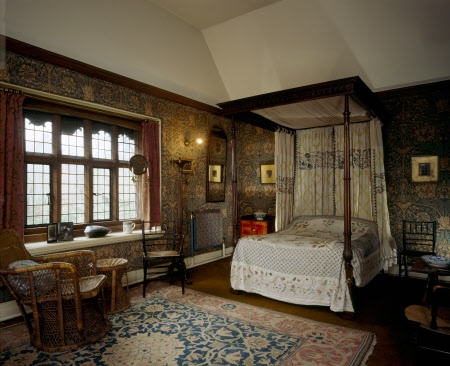 "The Honeysuckle Bedroom at Wightwick Manor, Wolverhampton, West Midlands The original printed cotton wall hangings are May Morris' ""Honeysuckle"" design, the hand-knotted rug is William Morris' ""Small Barr"" pattern."
