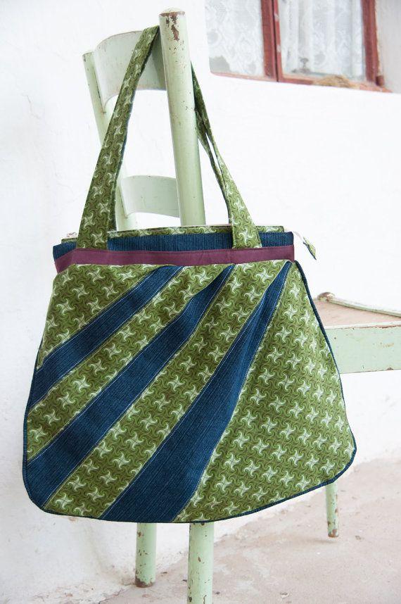 Green denim shweshwe bag   Etsy shop https://www.etsy.com/listing/230017385/green-green-is-your-south-african