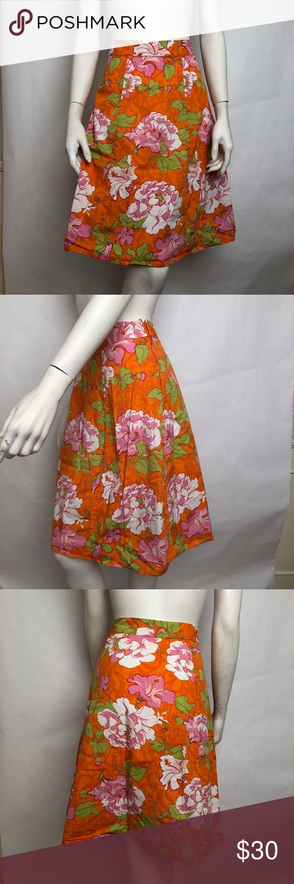 """St Johns Bay Skirt Sz 22W Orange Pink Floral St Johns Bay Womens Midi Skirt Stretch Orange Pink Multi Color Floral Pattern Size 22 Brand: St John's Bay Woman Material: 97% Cotton 3% Lycra Color: Orange, Pink, Green, White Print: Large floral print - pink flower on orange background. Flowers appear to be Camellias or Peonies Measurements: Waist laid flat 19"""" Length 24"""" Zipper closure at back Condition: Good pre-loved condition Country of Manufacturer: India  Thank you for shopping at The Posh…"""