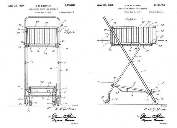 Taking Design Inspiration from the Humble Shopping Cart: wireframe blueprint shopping cart Sylvan Goldman