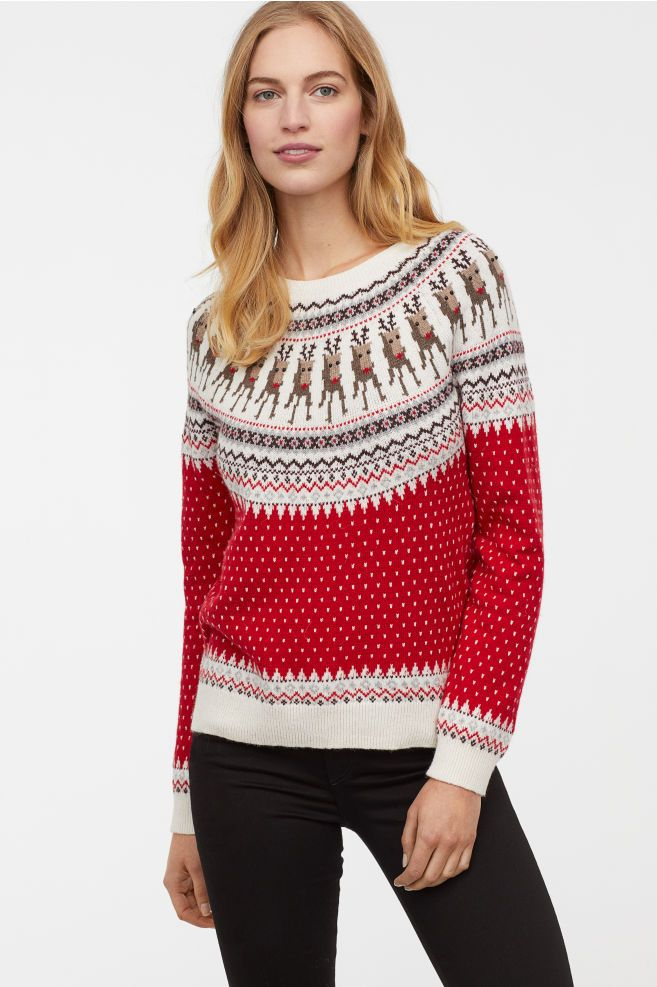 2c4a1265e0f24 Jacquard-knit Sweater   CHRISTMAS   Red sweaters, Sweaters, Sweater ...