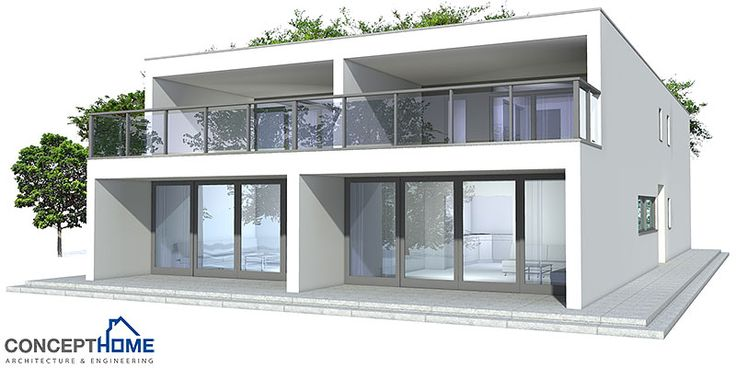 Contemporary duplex house to narrow lot. Three bedrooms and two living areas. Simple shapes.