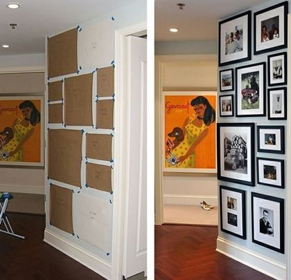 Gallery Wall Idea. Cut out paper the size of your frames and arrange on the wall first to see how they look.