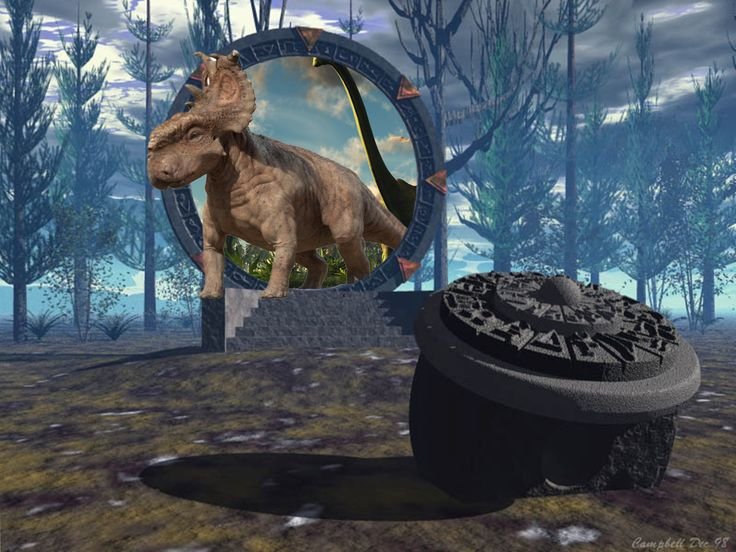 A dimensional portal that brings dinosaurs to another world.