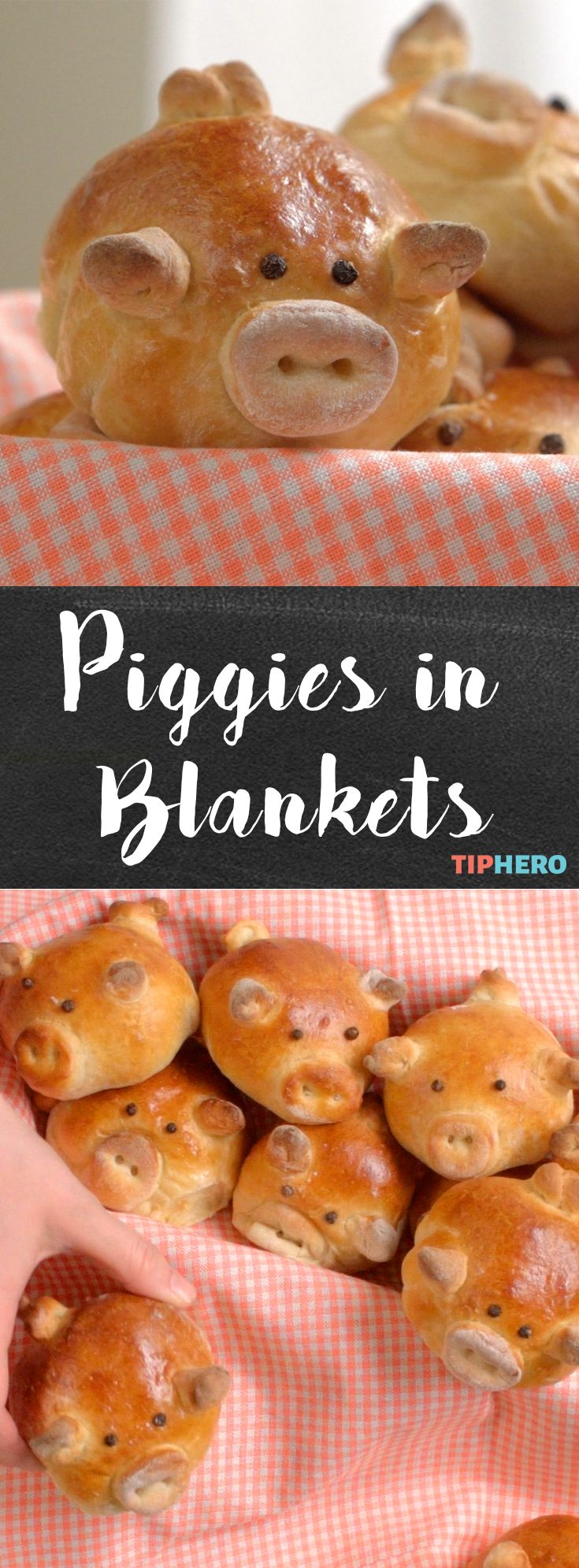 Piggies in Blankets | This adorable recipe takes the classic pigs in a blanket appetizer to a whole new level Delight your guest with these little piggies. All you need are some dinner rolls, sausages of your choice, peppercorns, and egg wash. Click for the video and recipe. #cookingwithkids #crowdpleasers #easterrecipes