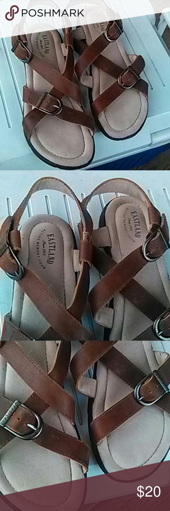 Eastland strappy  sandals Brown leather strap sandles.  Basically new.  Worn lightly a couple times. Eastland Shoes Sandals