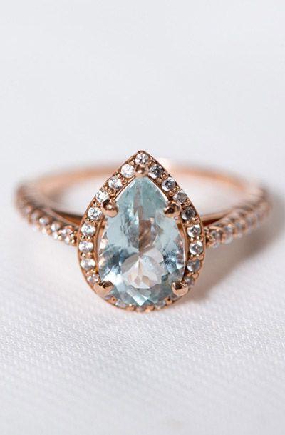 Aquamarine Pear-Shaped Engagement Ring