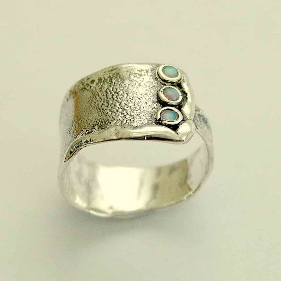 sterling silver and opals unisex ring - Hug me.