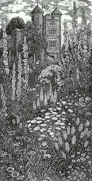 """Cottage Garden, Sissinghurst"" by Sue Scullard (wood engraving)"