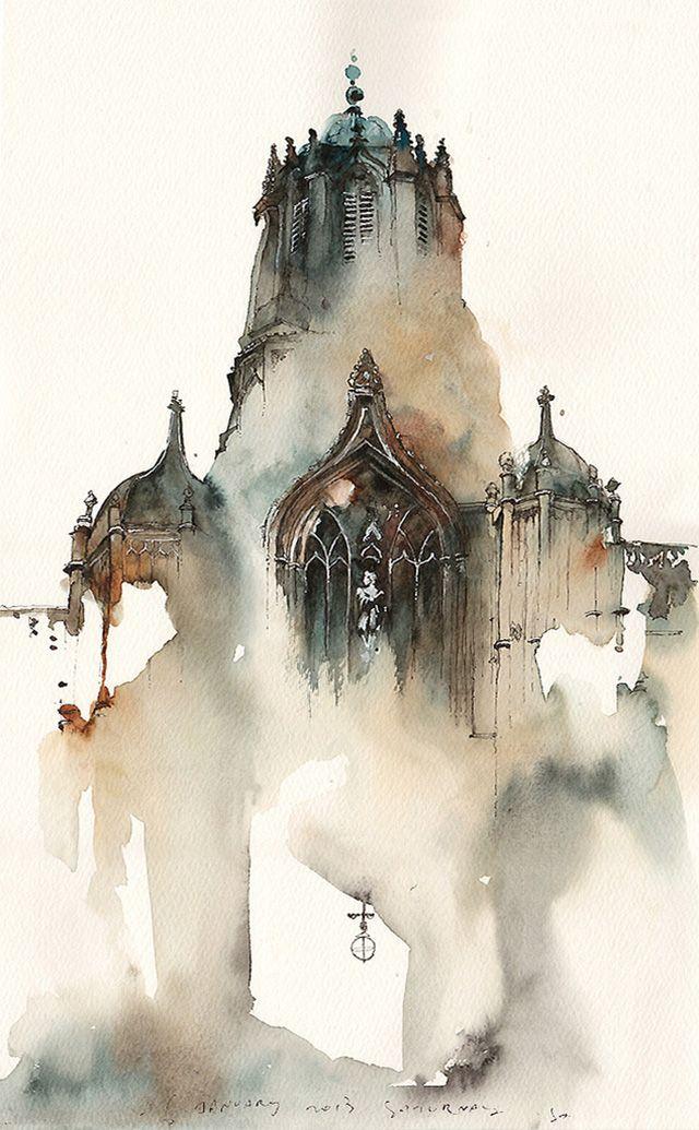Un travail fascinant qui mêle architecture et aquarelle par Sunga Parc