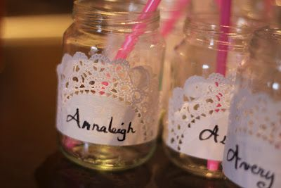 Baby Food Jars with Doilies for Personalized Cups for Little Girls Party