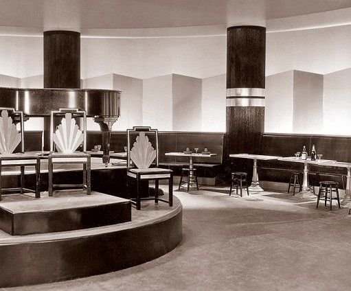 High-contrast tones & bold geometries define Gibbons's set design for the Grand Hotel's bar and lounge. Tweets by Art Deco Designs (@ArtDecoFineArt) | Twitter