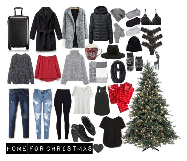 """Christmas"" by karleighrempel on Polyvore featuring Uniqlo, MANGO, Glamorous, Vika Gazinskaya, Tumi, BP., Lauren Conrad, Calvin Klein, Forever 21 and The North Face"