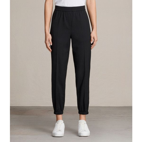 AllSaints Skye Trouser (455 ILS) ❤ liked on Polyvore featuring pants, capris, black, slim fit pants, elastic waist pants, tailored pants, tailored trousers and slim pants