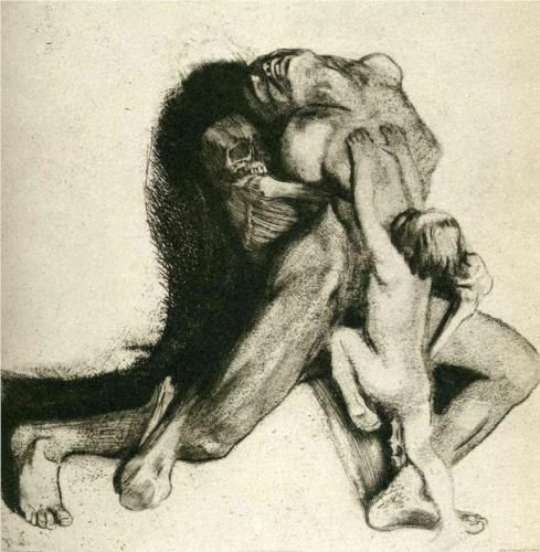 blackpaint20:  Death and Woman (Self-Portrait) Tod und Frau by Kathe Kollwitz 1910