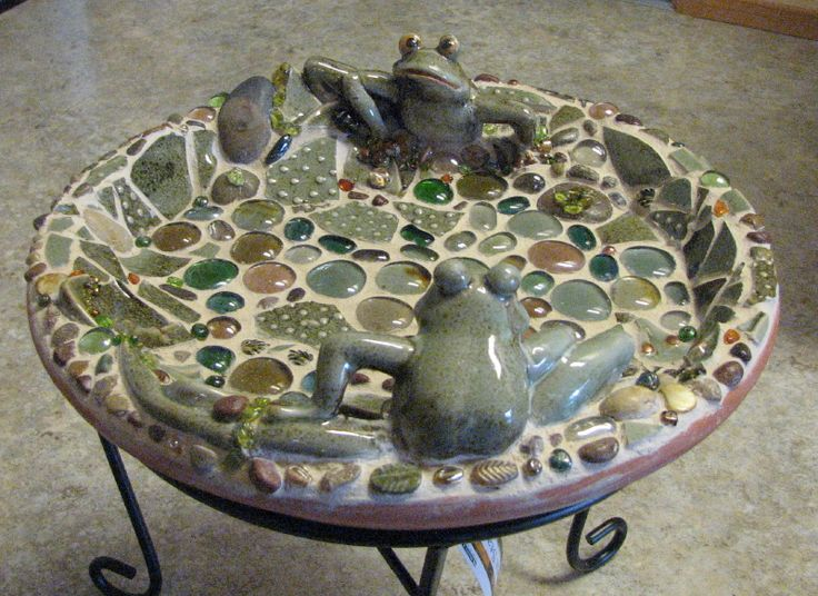 Bird Bath using frogs from a favorite dish that was (sadly) accidentally broken