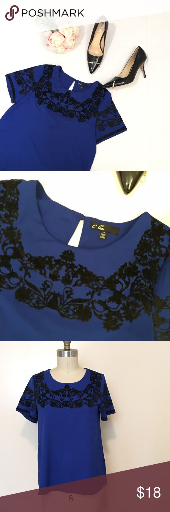C.luce colbolt blue with black top Sz S Great condition. Top is super cute!!! c. luce Tops Blouses