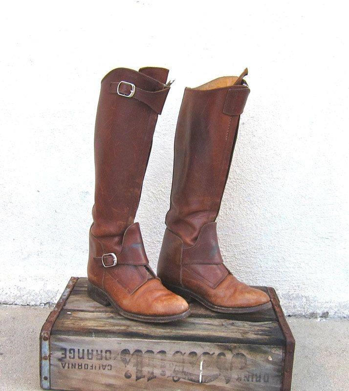 RESERVED for JW Vintage Rugged Brown Leather Polo Riding Boots By Minsen & Co. Ladies 6.5-7. $210.00, via Etsy.