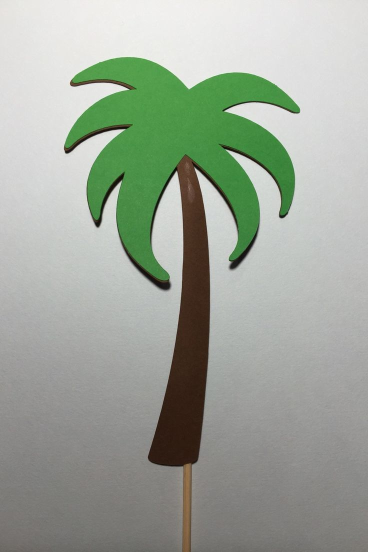 6 piece Palm Tree Luau Centerpiece Picks - Paper Die Cut - Table Decorations - Floral by MyCutieBows on Etsy