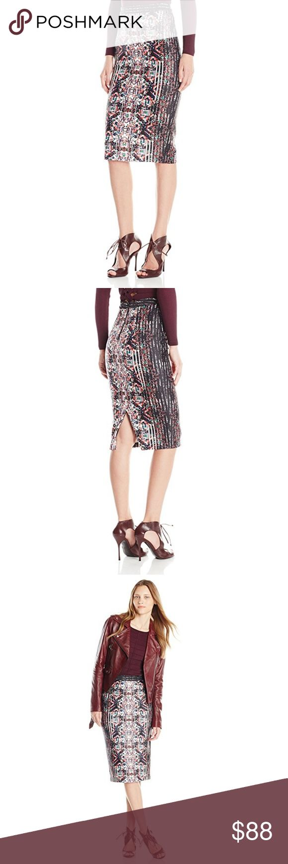 Parker Cascade Print Pencil Skirt Parker Cascade Print Pencil Skirt, Nebula, Size 0 95% Polyester/5% Spandex Imported Dry Clean Only Combination-print pencil skirt featuring vented back and exposed zipper closure Parker Skirts Midi