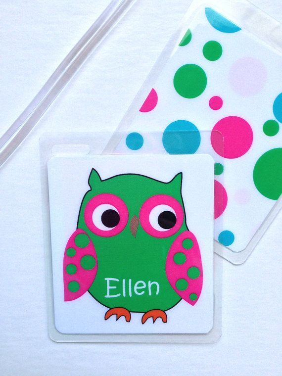 Kids Bag Tag Owl Luggage Tag School Bag Tag  Personalized  Kids Backpack Tag Owl Party Favor   on Etsy, $5.95