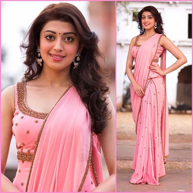 Actress Pranitha Subhash dressed in a  Shilpa Reddy Studio blush pink prestiched Sari Gown for Gudi Sambaralu - The Temple Festival  #pranithasubhash #sareegown #indowestern #shilpareddystudio #handembroidery #southindianfashion #blushpink