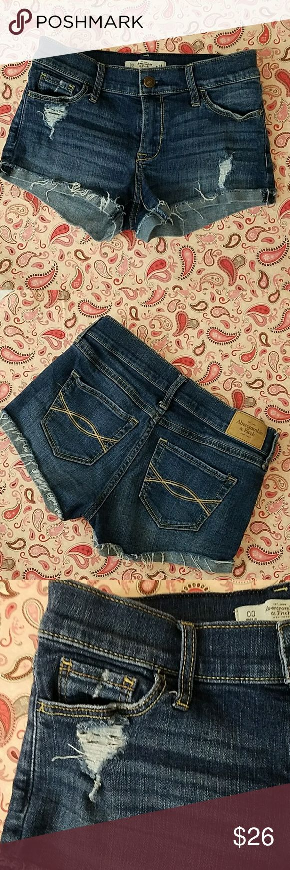 🍒Abercrombie & Fitch Distressed Jean Shorts 🍉 Perfect Pair Distressed medium blue, rolled cut off shorts. Brand new quailty! Abercrombie and Fitch Shorts Jean Shorts