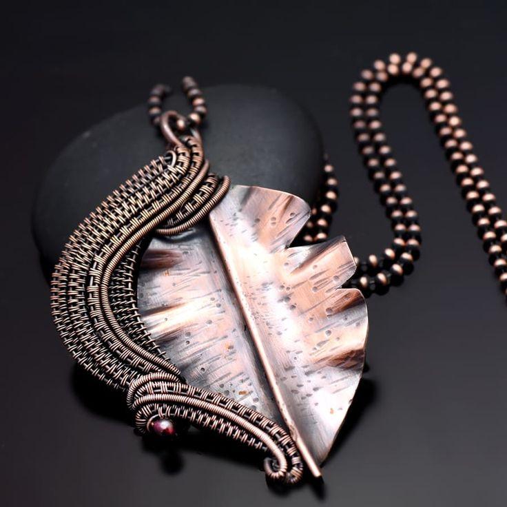 wire wrap pendant, wire wrap jewelry, copper jewelry, wire wrap necklace, copper necklace, nicole hanna jewelry, garnet jewelry, garnet necklace, leaf necklace, leaf pendant, copper leaf, wire weaving, one of a kind jewelry, handmade jewelry, nicole hanna jewelry