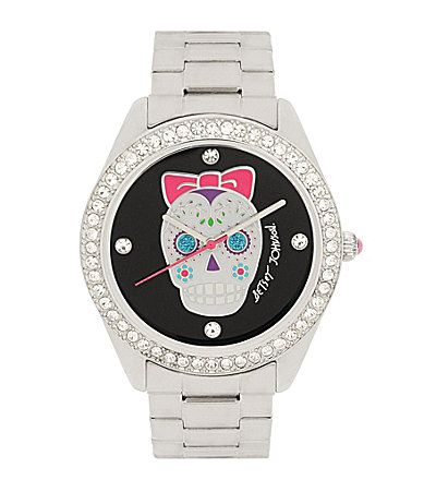 betsey johnson silvertone skull watch images