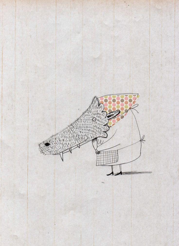 Ce dessin est surment fait avec des crayons de bois. Il y a peu de couleurs, il y a du orange, du gris, un peu de rouge. Il y a peu de détails... On voit un dessin qui s'apparente  a la grand-mère dans Le petit chaperon rouge. La grand-mère remplacer par le loup, bien sur. Je n'ai pas ressentis beaucoup d'émotions... Peut-être un peu de nostalgie, quand je lisais ce compte. Parce que ce dessin est vraiment simple mais très bien fait.
