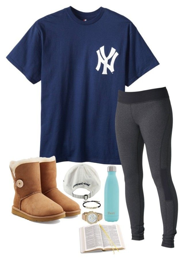 Watching Castle! by sassysouthernprep99 on Polyvore featuring Roxy, UGG Australia, Kate Spade, Tai, Vineyard Vines, S'well and Aspinal of London