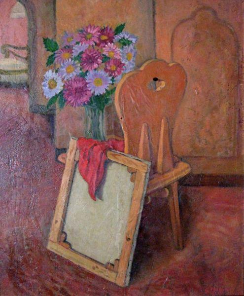 """""""Interno con tela, sedia e vaso di fiori"""" - Opera d'arte di Giancarlo Muzzolon"""