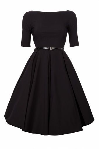 Full circle skirt accentuates the hourglass, explaining why this style is the epitome of femininity. Quite Audrey Hepburn!