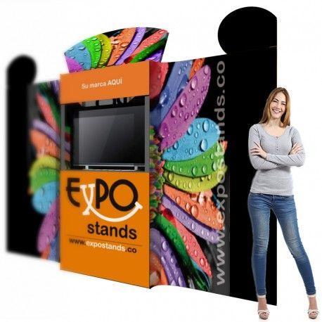 """Backing / Porta TV de 3,00 x 2,40 mts Con el Backing ES-BKTV-1 de ExpoStands usted puede crear un espacio de 2,4 metros de altura por hasta 3 metros de frente. Soporta un televisor de hasta 42""""."""