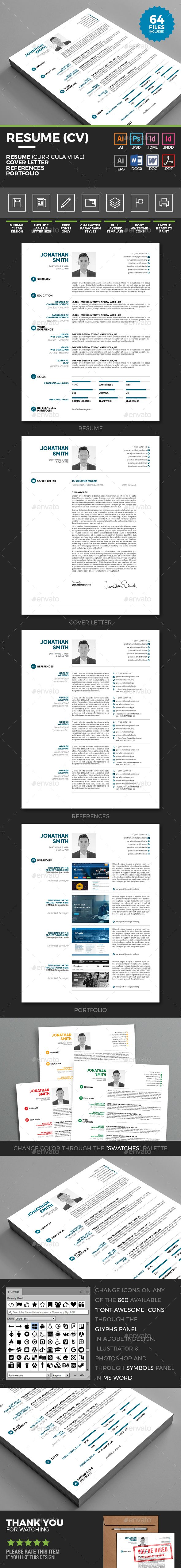 Simple Resume - Minimal Clean Resume Template by Y-N Simple Resume – Minimal Clean Resume (CV) with Cover letter, References and Portfolio with customizable icons (Contacts). Intended