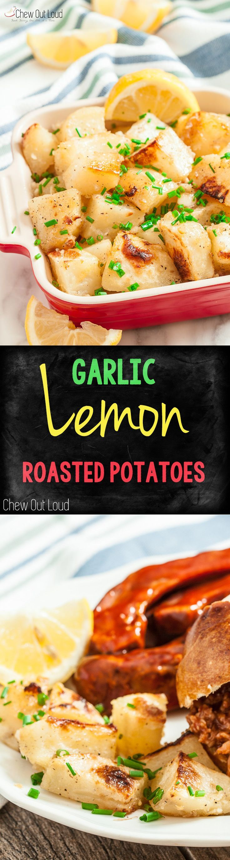 Garlic Lemon Roasted Potatoes. So easy, healthy, flavorful, and lively! Pairs well with any meal.