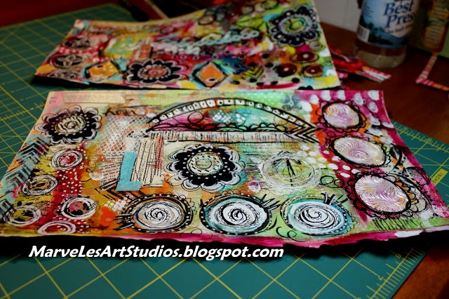 """MarveLes Art Studios: do the work! {gelli prints & more} """"afraid to begin the next step {just a little bit} because i don't want to 'mess things up' as i really love my gelli prints! in fact, it reminds me of the parable of talents in the bible where the one dude hides his money in a hole! {well... that hole could be my studio} ~ lol!"""""""