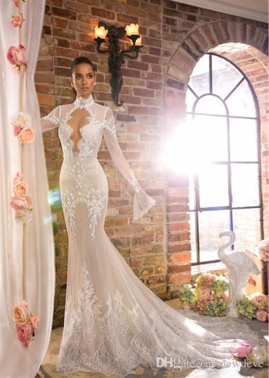 Elihav Sasson Mermaid Wedding Dress With Long Sleeves High Neck Vestidos De Noiva Hollow Back Lace Country Bridal Gowns