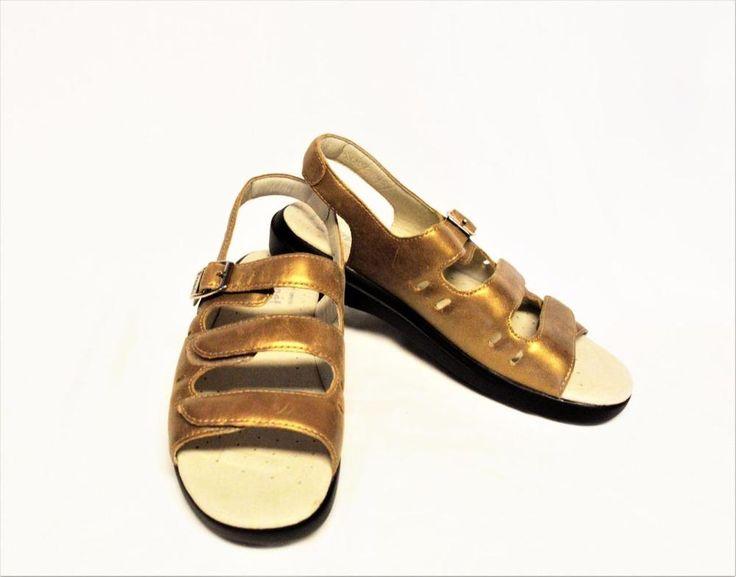 NEW Propet Breeze 8.5/39 N Walker Sandals Brown Leather Adjustable Straps Flat #Propet #SlingbackWalkingSandal #Casual