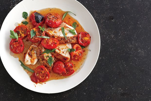 Chicken with Herb-Roasted Tomatoes and Pan Sauce recipe