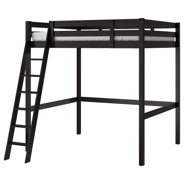 Loft Bed Frame Black Full Double In 2020 Ikea Bett Ikea Loft