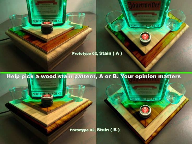 Jäger Lamp for sale in early 2014. This was prototype 2's base. Help me choose a stain pattern. A or B? Jagermeister Lamp #jagerlamp