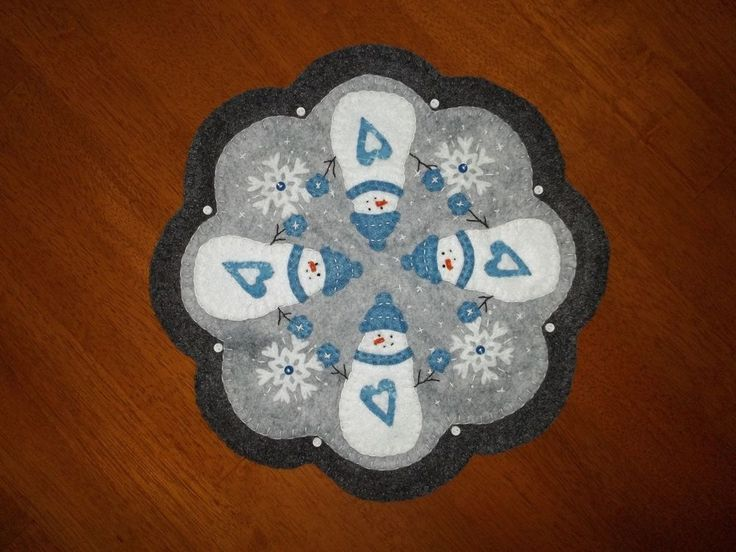 Primitive Wool Snowmen and Snowflakes Penny Rug Candle Mat