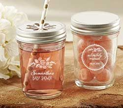 Personalized Printed Mason Jar - Rustic Baby Shower - Mason Jar Favors by Kate Aspen