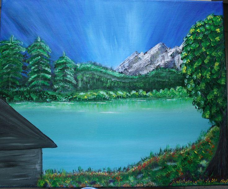 Tableau, acrylique,figuratif,lac,montagne,chalet,arbres,fleurs,ciel,lumière