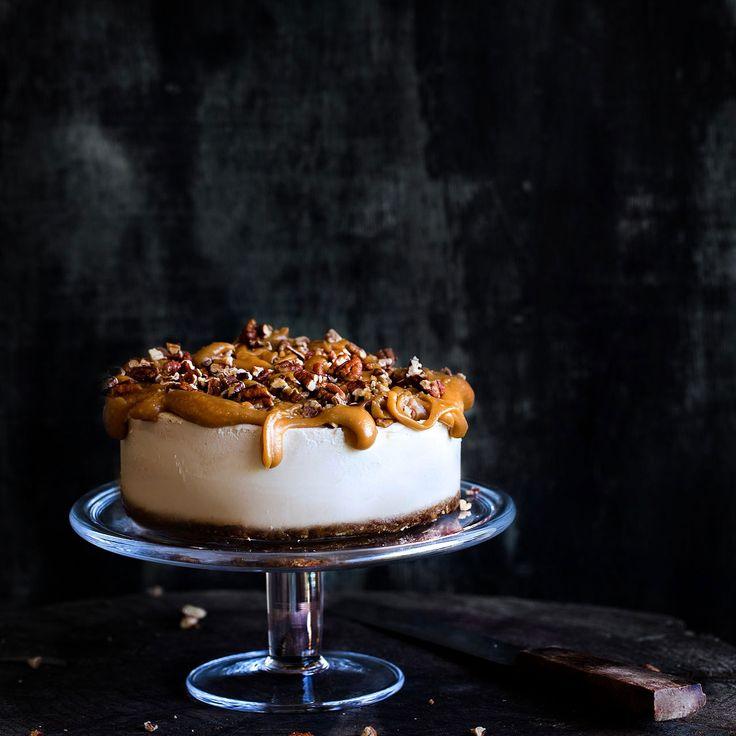 Vegan Lemon Cheesecake with Caramel Pecan Topping