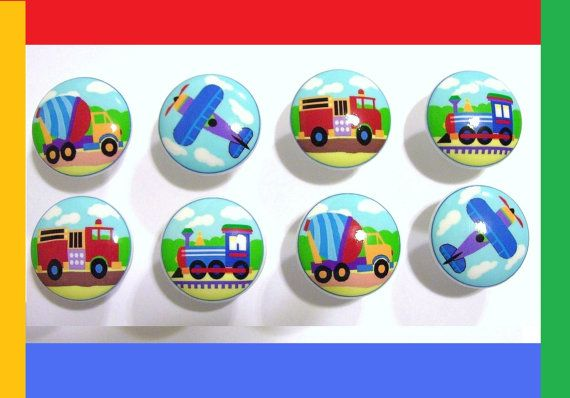 8 set  Plane Train Fire and Cement Truck TRANSPORTATION boys kids mtm bedding Dresser Drawer Knob