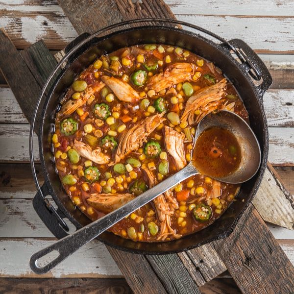 Brunswick Stew...a delicious earthy stew with chicken, lima beans, okra, and corn.