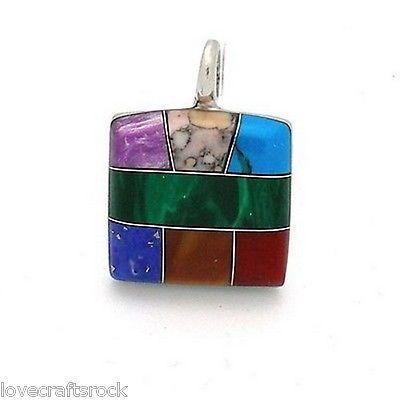 Silver-Necklace-Pendant-Handmade-Polished-Stone-Alpaca-Fashion-Jewelry-New