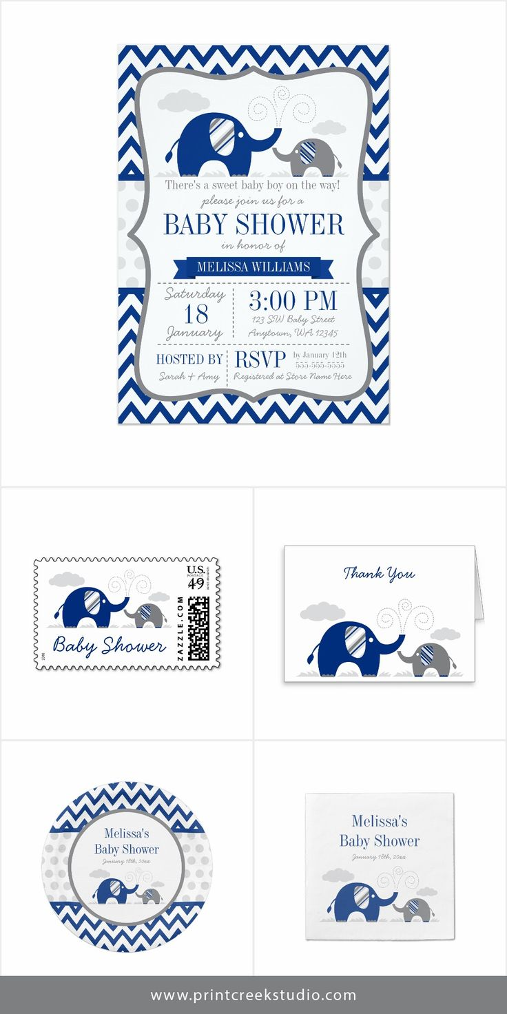 A modern navy blue and gray elephant themed baby shower invitation set. Matching stamps, thank you cards, paper plates, napkins and more. A cute design for a baby boy on the way.